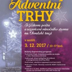 Adventní trhy, Ježíškova pošta a rozsvícení vánočního stromu na Chvalské…