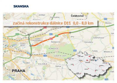 Začíná rekonstrukce D11 v úseku km 0,0 – 8,00 (exit Jirny)