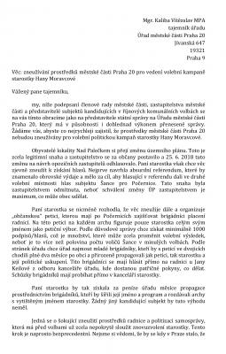 Reakce tajemníka úřadu na otevřený dopis k Petici za snížení výstavby v Horních Počernicích