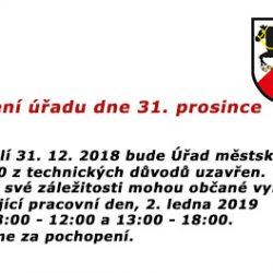 Uzavření úřadu dne 31. prosince 2018
